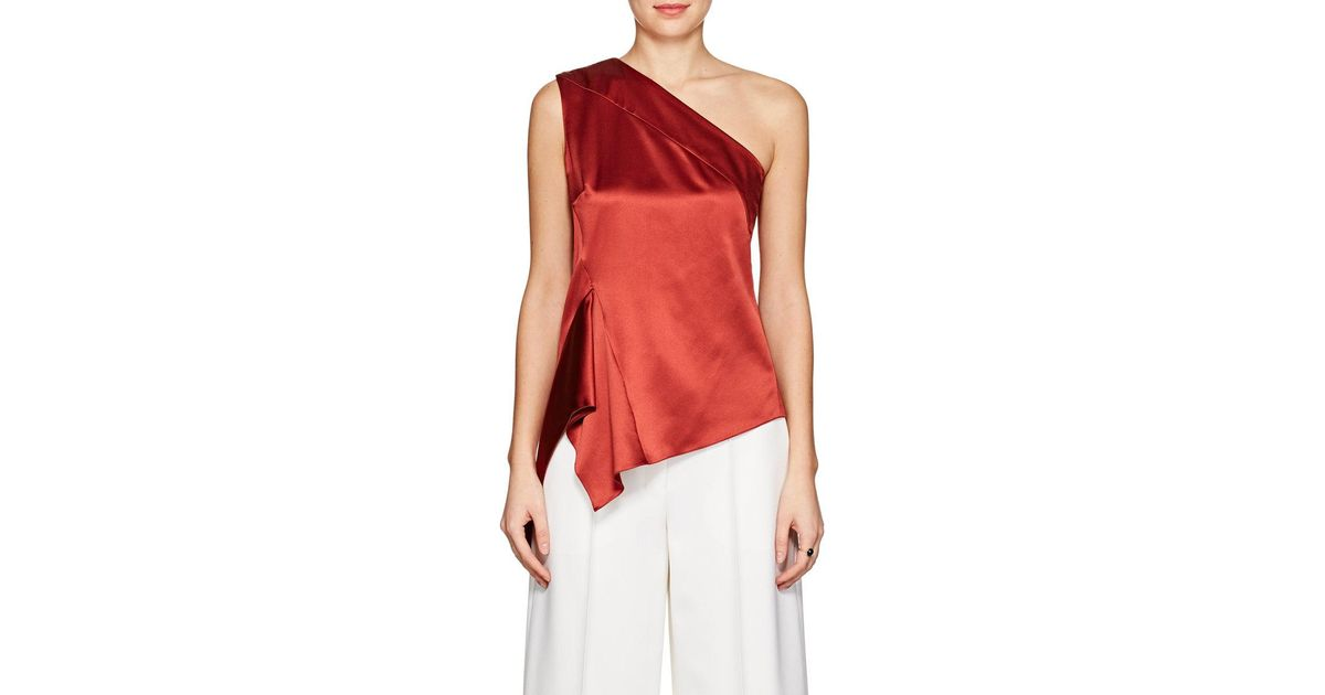 4eff252db5363 Narciso Rodriguez Silk Satin One-shoulder Blouse in Red - Save 82% - Lyst