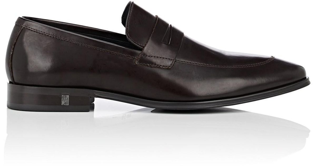 b1a5714331b Lyst - Versace Spazzolato Leather Penny Loafers in Brown for Men