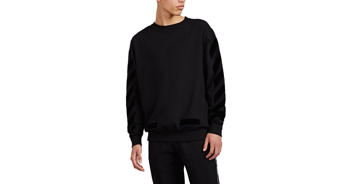 8965a0924 Off-White c/o Virgil Abloh Logo-flocked Cotton Fleece Crewneck Sweatshirt  in Black for Men - Lyst