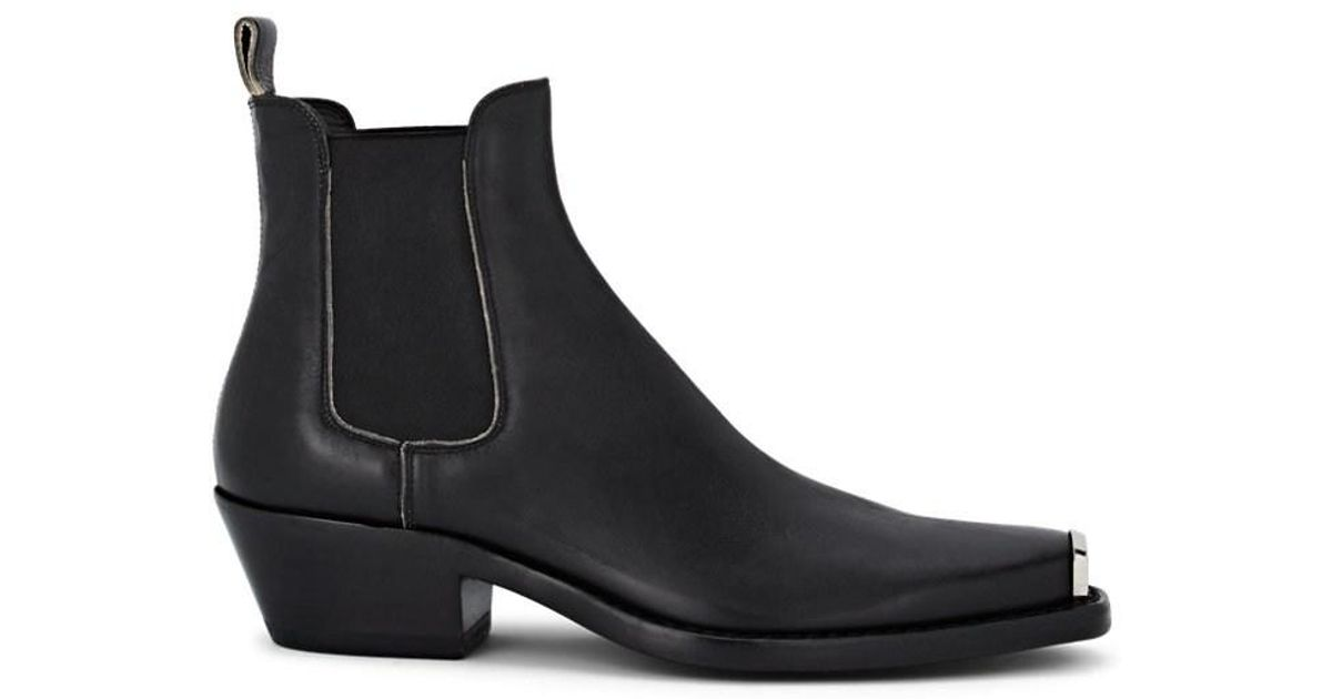 0e6b1523d26 CALVIN KLEIN 205W39NYC Western Chris Distressed Leather Chelsea Boots in  Black for Men - Lyst