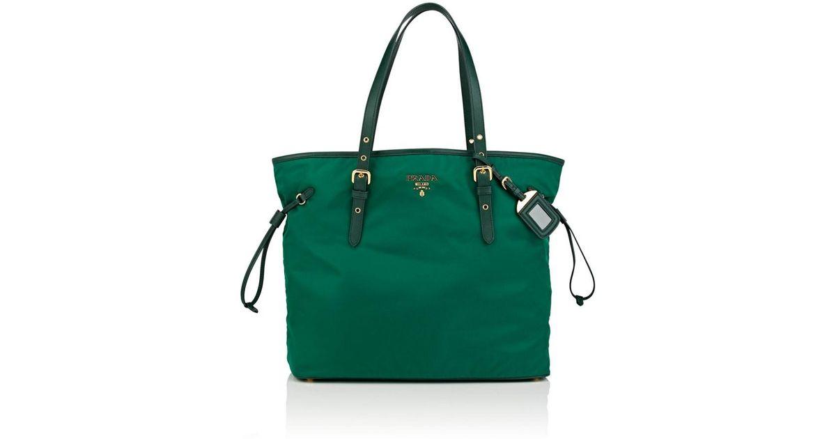 c77cb9a286afe5 ... usa lyst prada shopping tote bag in green c9939 577df