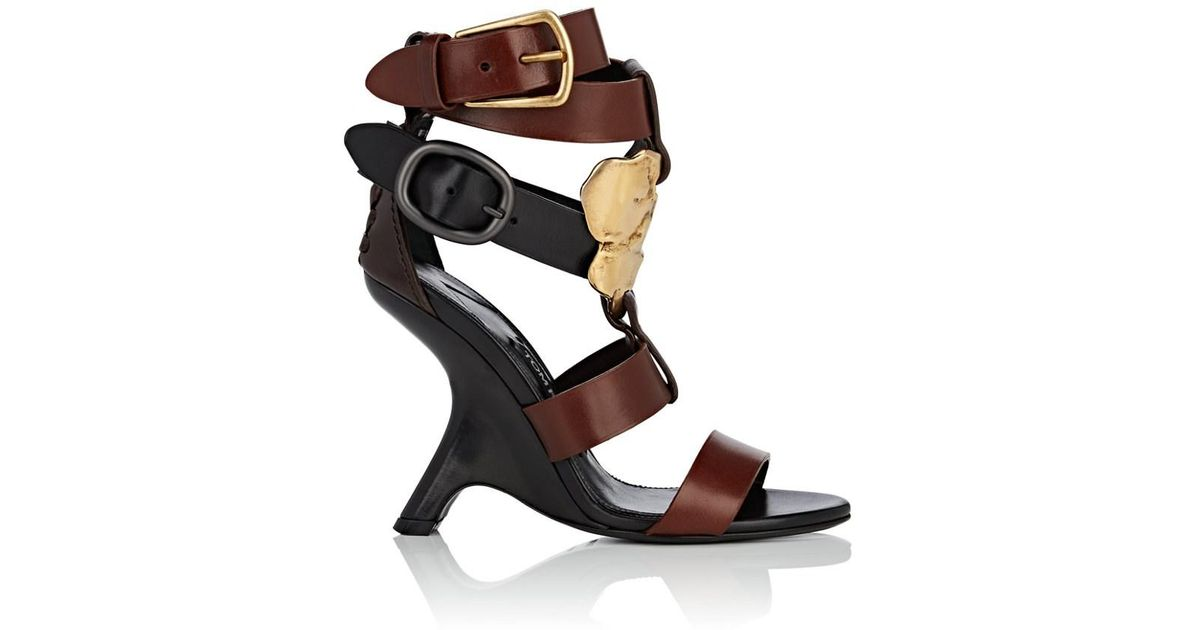 5ec2f3ef9a4 Lyst - Tom Ford Sculpted-heel Leather Sandals in Brown