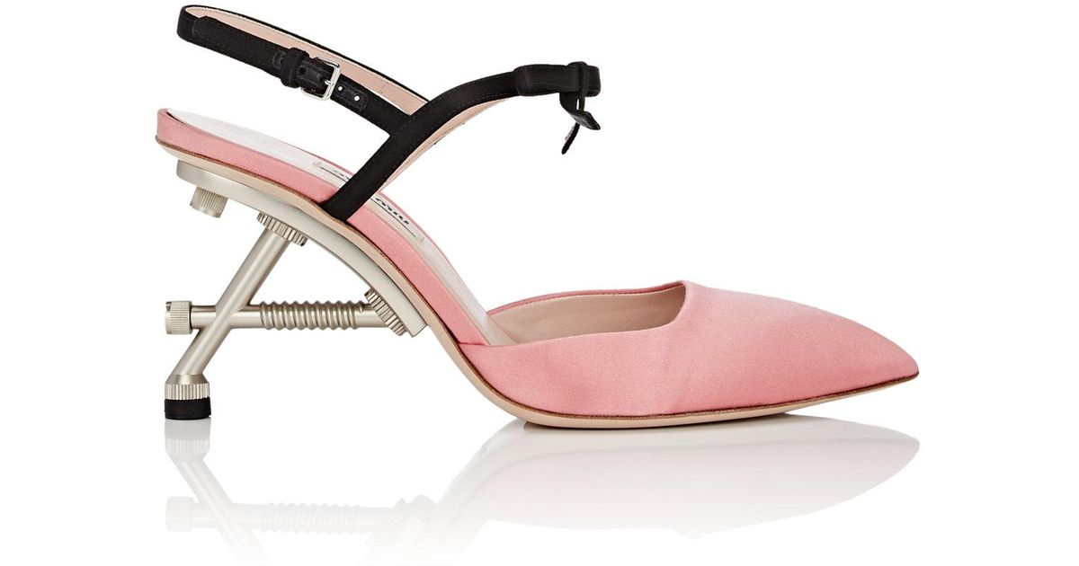 730f225003 Lyst - Miu Miu Structured-heel Satin Ankle in Pink