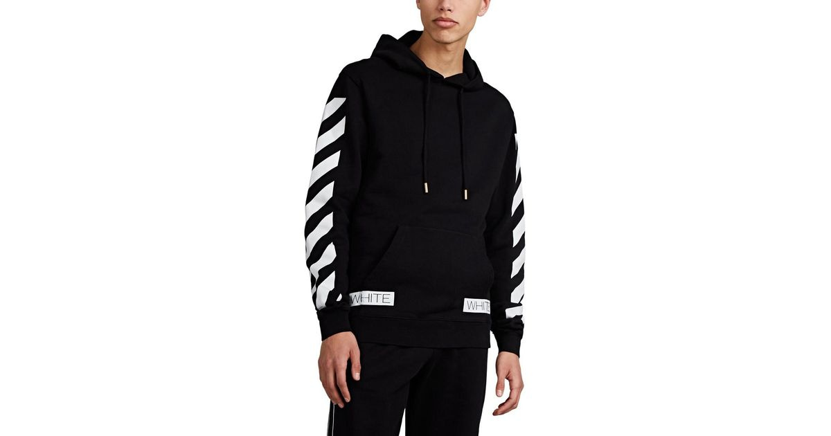 24cc2ca62436 Lyst - Off-White c o Virgil Abloh blue Collar Logo-print Cotton Terry Hoodie  in Black for Men