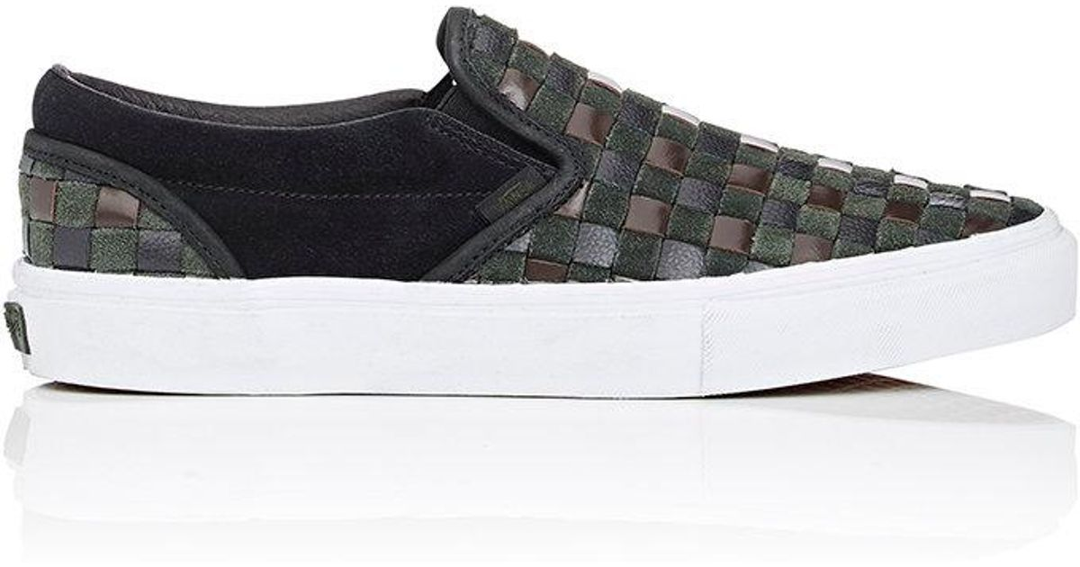 06ffdf6a49 Vans Bny Sole Series  Woven Leather   Suede Slip in Green for Men - Lyst