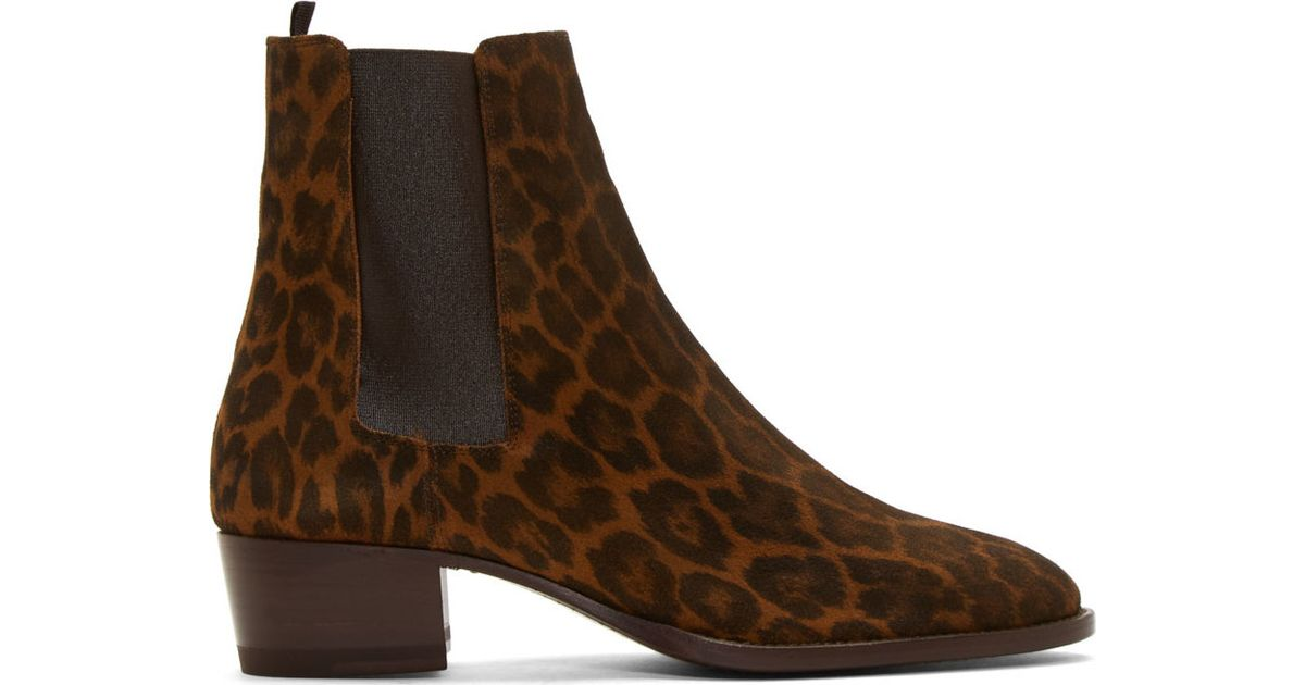 f9e9dd7aa8a Saint Laurent Brown Suede Leopard Print Wyatt Boots in Brown - Lyst