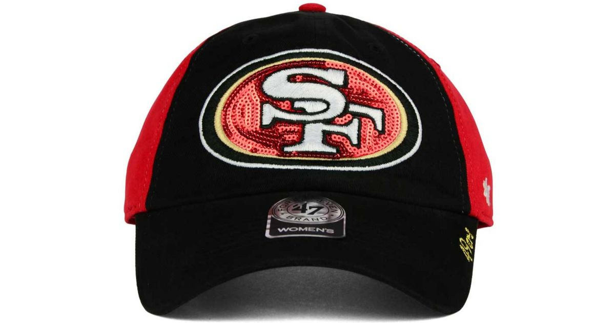 low priced b7357 c0b3b ... nfl tumult clean up adjustable hat abcb6 96577  new zealand lyst 47  brand womens san francisco 49ers sparkle 2 tone adjustable cap in black