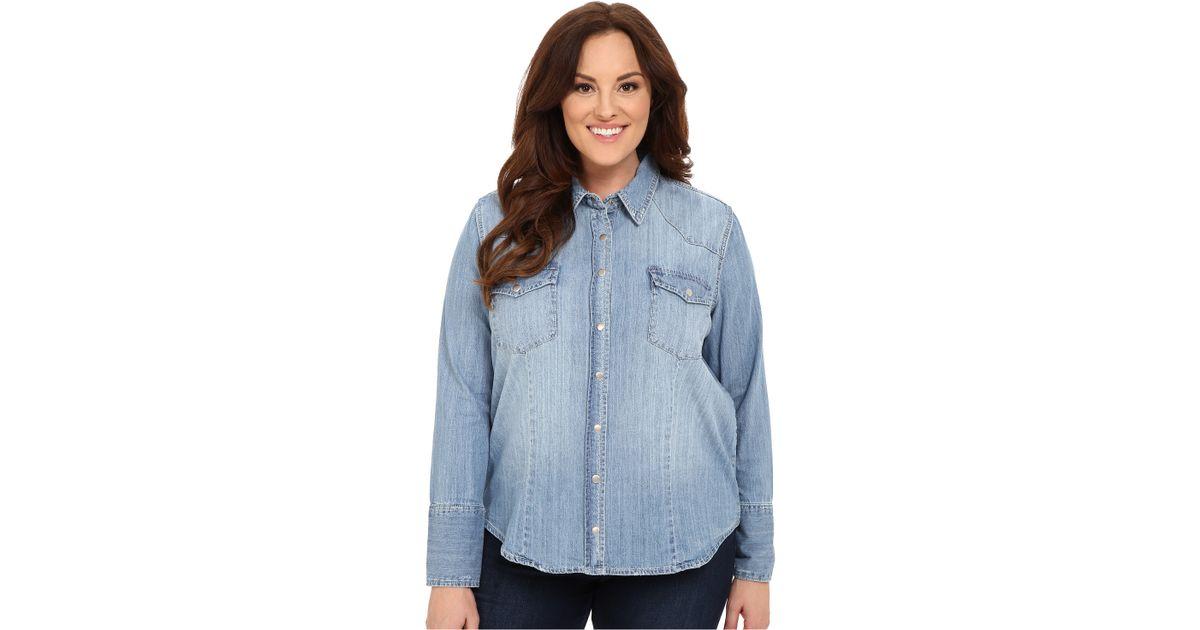 Stetson light blue denim long sleeve western shirt in blue for Plus size light blue shirt