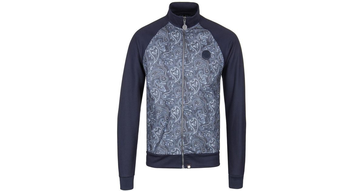 c8348a55ac6c Lyst - Pretty Green Navy Paisley Print Track Top in Blue for Men