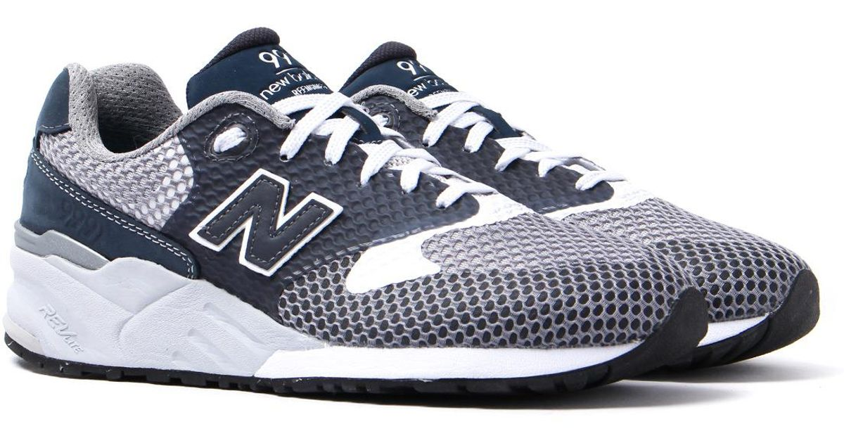 ba366256918 New Balance 999 Navy & Grey Re-engineered Mesh Trainers in Blue for Men -  Lyst