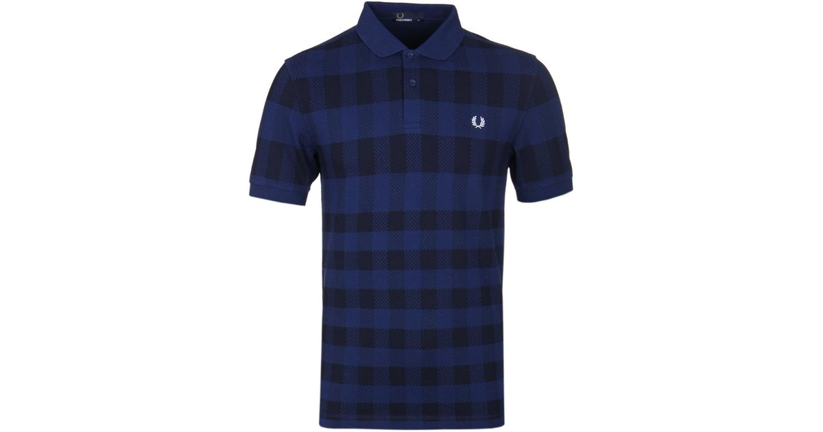3bb3a141d Fred Perry French Navy Gingham Print Pique Polo Shirt in Blue for Men - Lyst