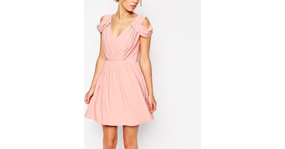 Asos wedding drape cold shoulder mini dress in pink lyst for Cold shoulder dresses for wedding