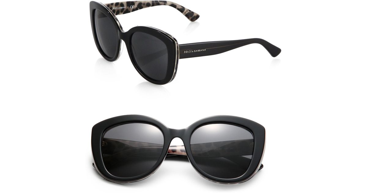 e1f7f5731324 Dolce & Gabbana Leopard Print-Trimmed 53Mm Cat'S-Eye Sunglasses in Black -  Lyst