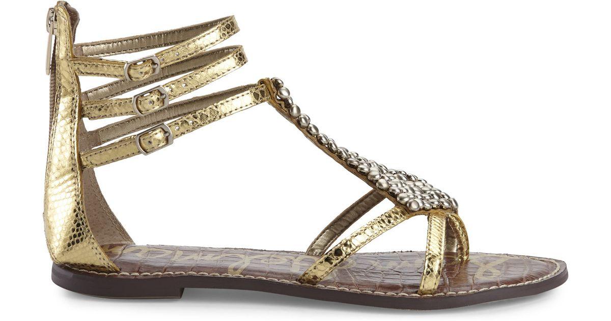 a202ebed1bec2 Lyst - Sam Edelman Gold Ginger Embellished Gladiator Sandals in Metallic