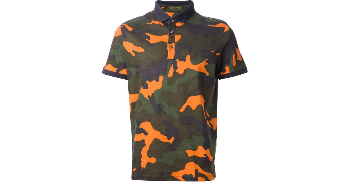 6b2927de Valentino Camouflage Polo Shirt in Green for Men - Lyst