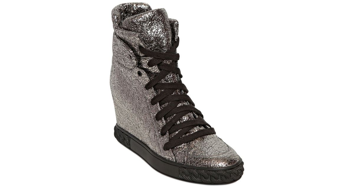5751ded4ab6 Lyst - Casadei 90mm Metallic Leather Wedge Sneakers in Metallic