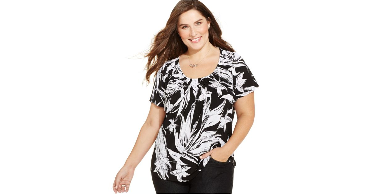 Lyst Style Co Styleco Plus Size Short Sleeve Printed Pleated