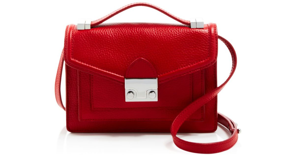 2988cbb07 Loeffler Randall Crossbody - Pebbled Tumbled Luxe Leather Mini Rider in Red  - Lyst