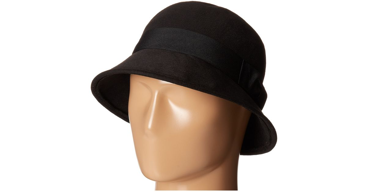 1e2b08fc533 Lyst - San Diego Hat Company Cth3714 Faux Wool Felt Cloche With Matching  Grosgrain Band   Bow in Black
