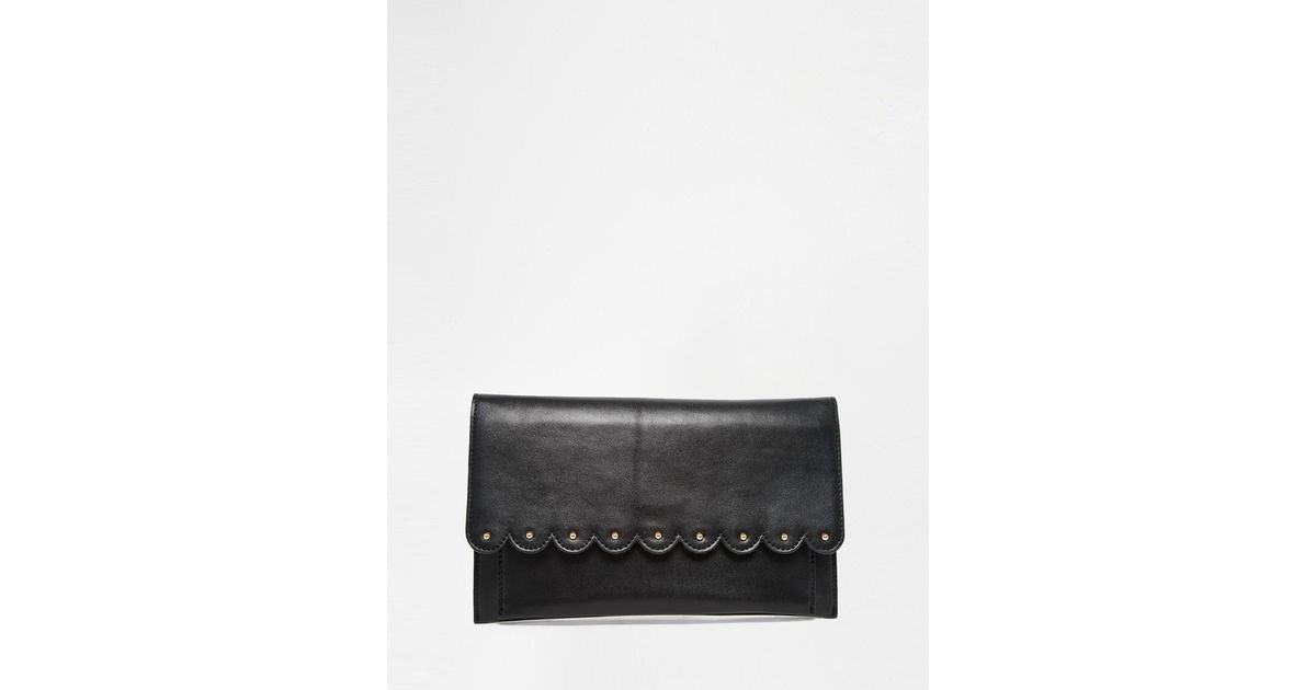 Asos Bags Unlined Soft Leather Flap Over Clutch Bag Red - Purses