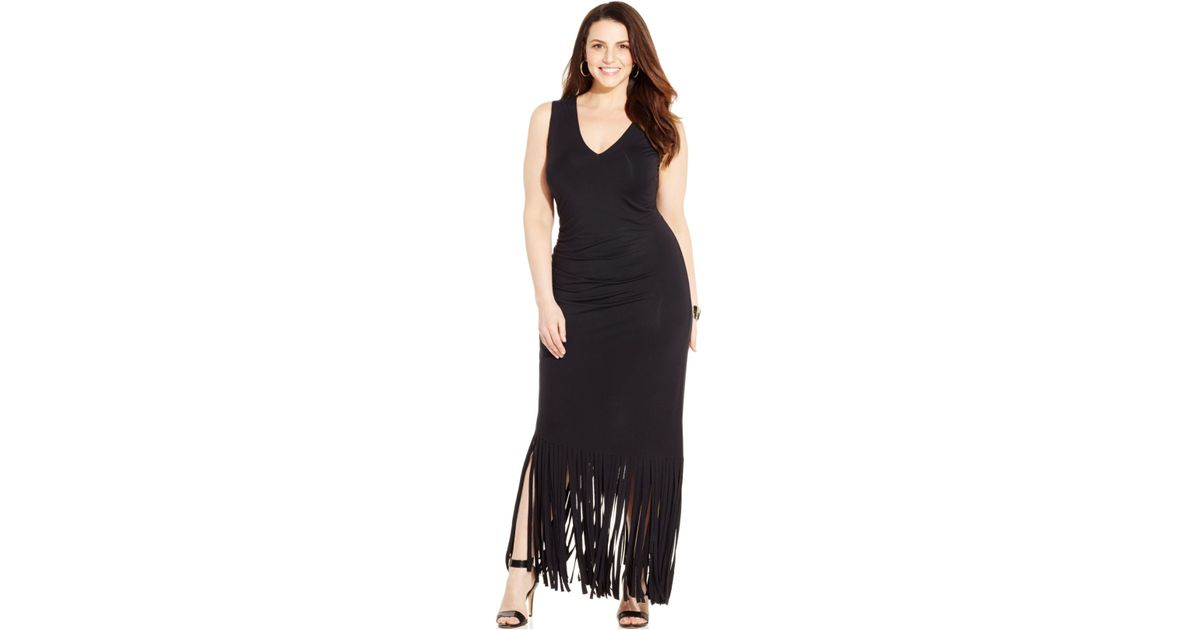 Plus size fringed maxi dress