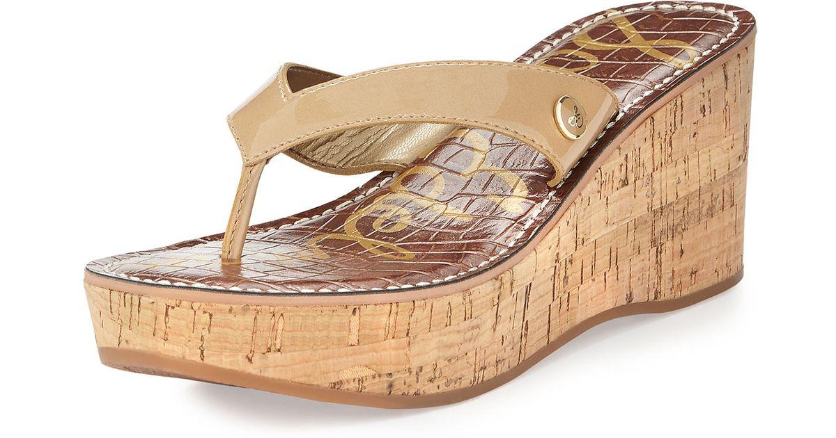 a90706e44a2501 Lyst - Sam Edelman Romy Patent Leather Wedge Sandal