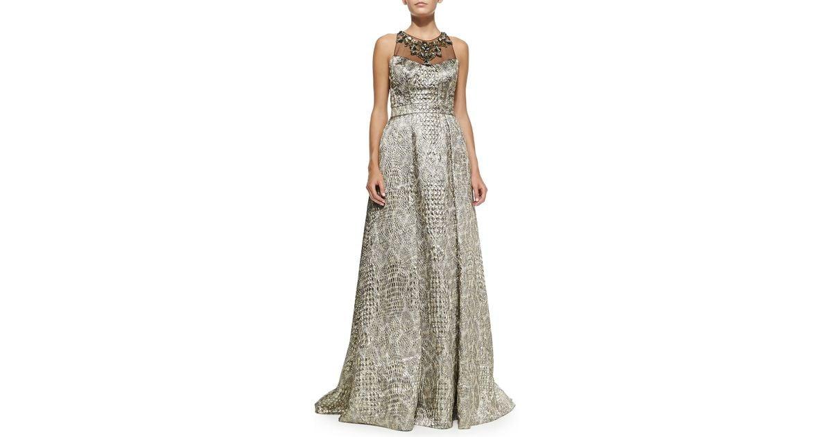 Lyst - Badgley Mischka Sleeveless Beaded-neck Ball Gown in Metallic