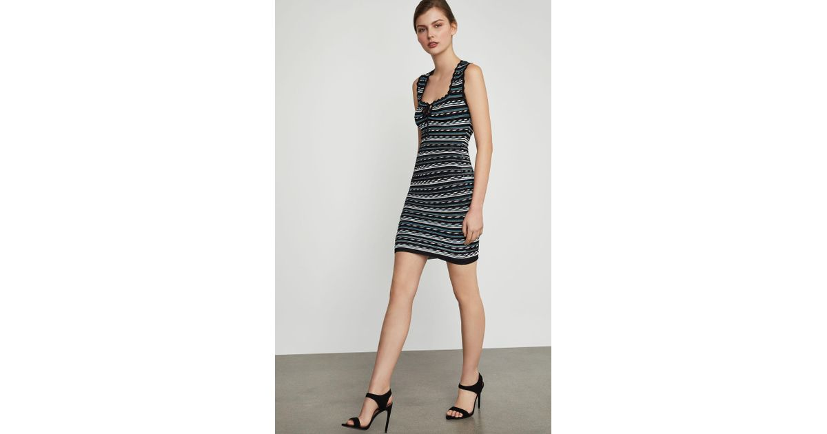 15c606295b7 Lyst - BCBGMAXAZRIA Bcbg Dotted Stripe Bodycon Dress in Black