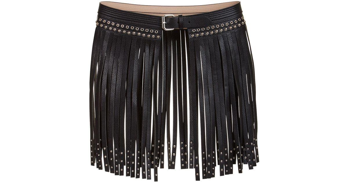bcbgmaxazria fringe studded faux leather waist belt in