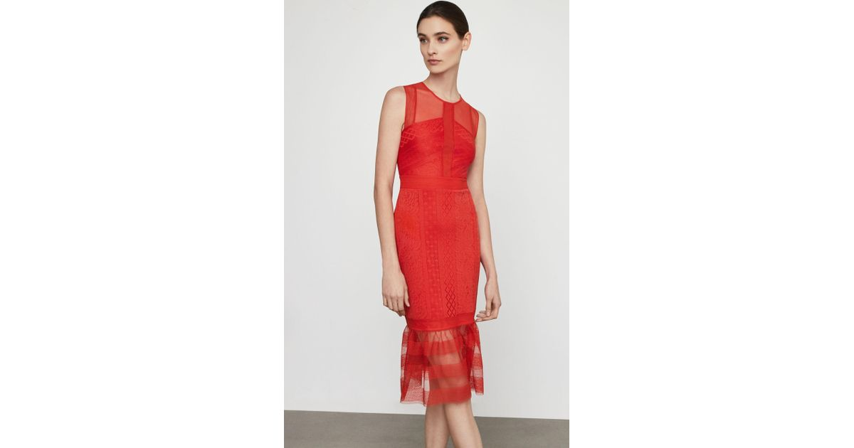 6d9e8950 BCBGMAXAZRIA Sleeveless Lace Inset Sheath Dress in Red - Save 75% - Lyst