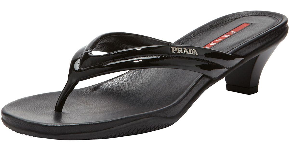 f64bce1dfe31 Lyst - Prada Patent Lowheel Thong Sandal in Black