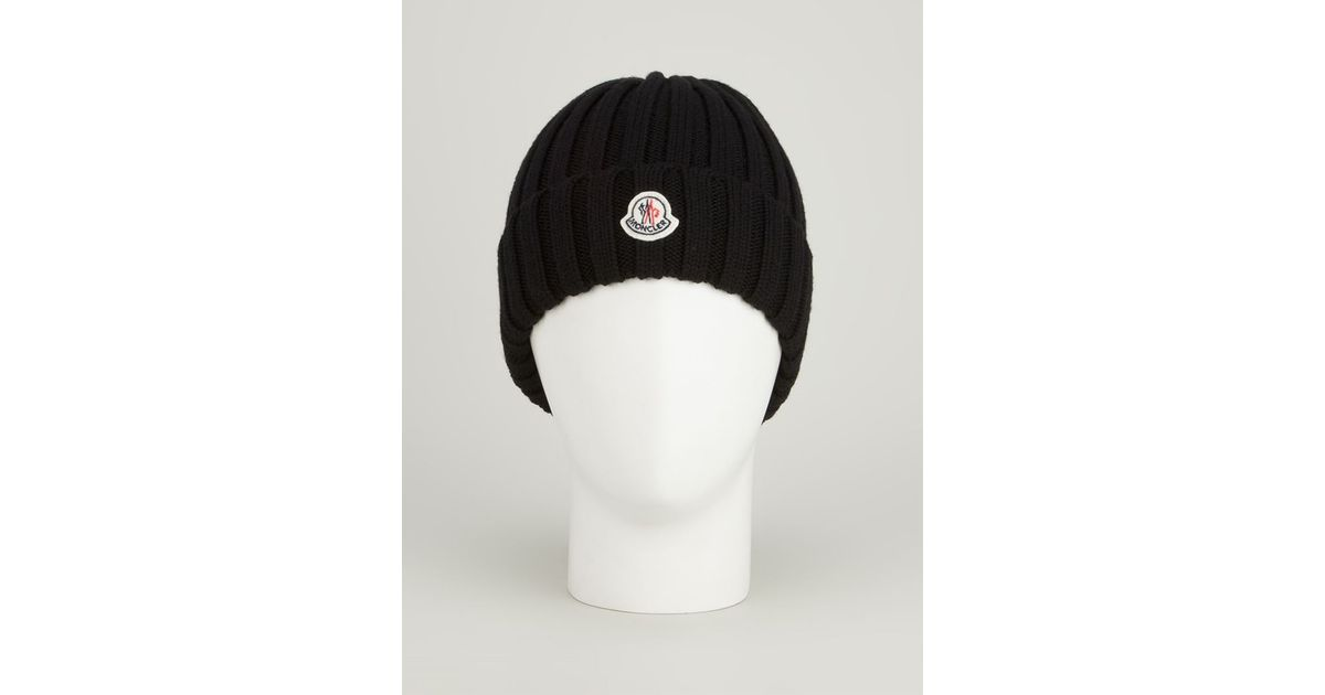 1b7a3c99dc8 Moncler Ribbed Beanie Hat in Black - Lyst