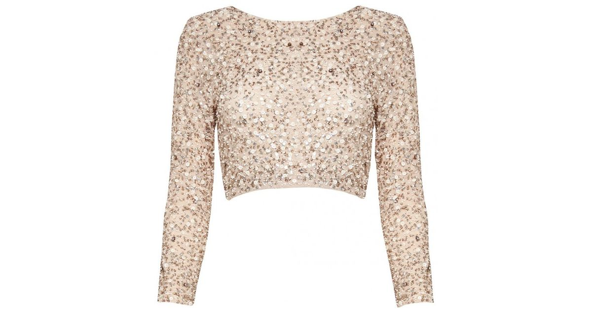 b790d357884240 Lyst - Alice + Olivia Lacey Embellished Crop Top in Natural