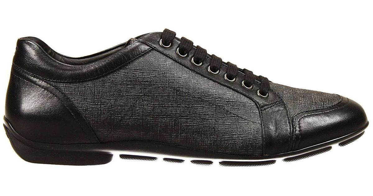 f1789fc28eb7 Lyst - Giorgio Armani Lace Up Shoes Sneakers Logo All Over in Black for Men