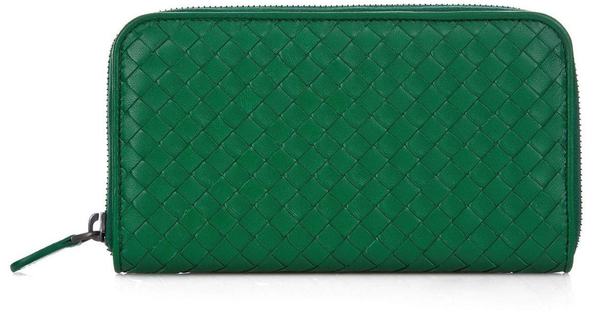 a3004a46c3 Bottega Veneta Intrecciato Leather Zip-around Wallet in Green - Lyst