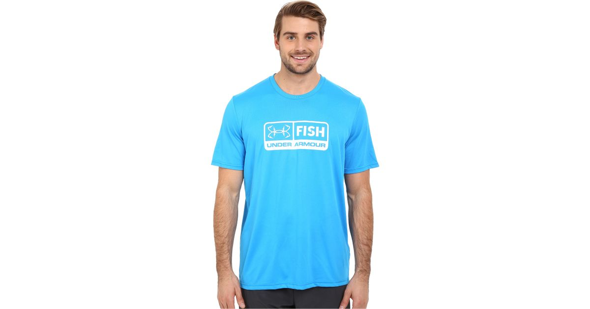 Under armour ua fish tech short sleeve in teal for men for Teal under armour shirt