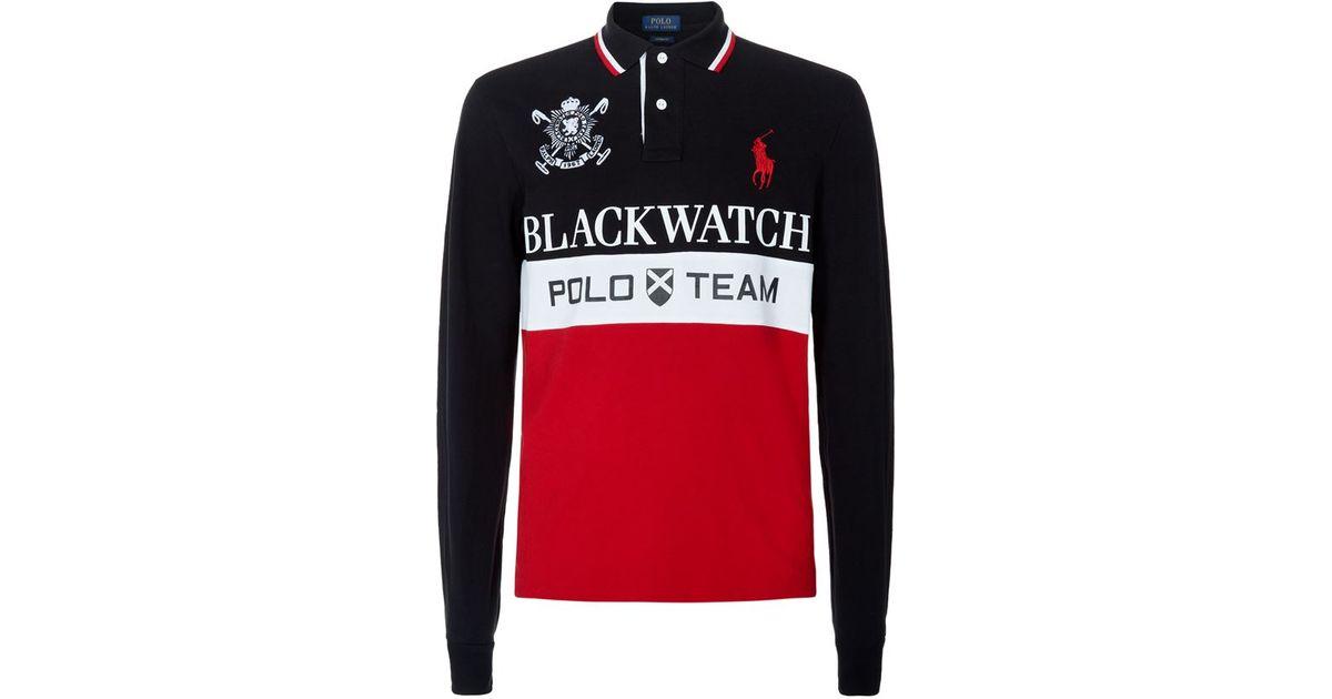 4bd45afa Polo Ralph Lauren Blackwatch Custom Fit Long Sleeve Polo Shirt for Men -  Lyst