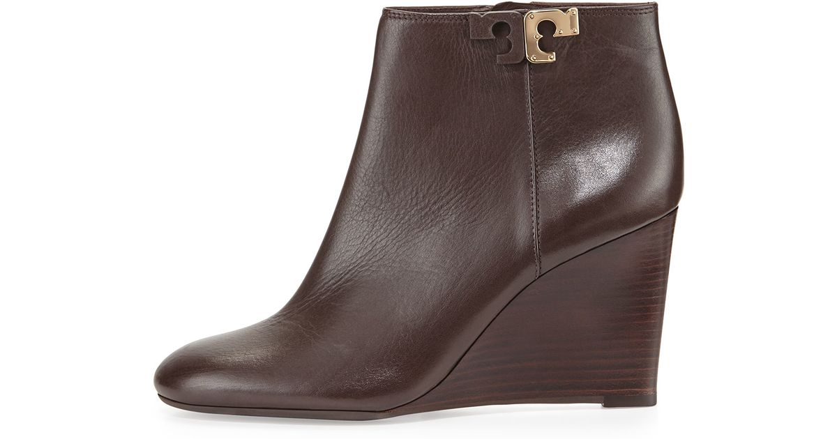 9ae82de11ad0 Tory Burch - Brown Lowell Leather Wedge Bootie - Lyst