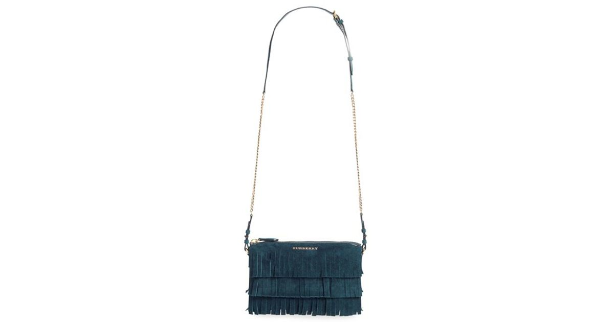 3835423ed42 Burberry 'peyton' Fringe Suede Crossbody Bag in Blue - Lyst