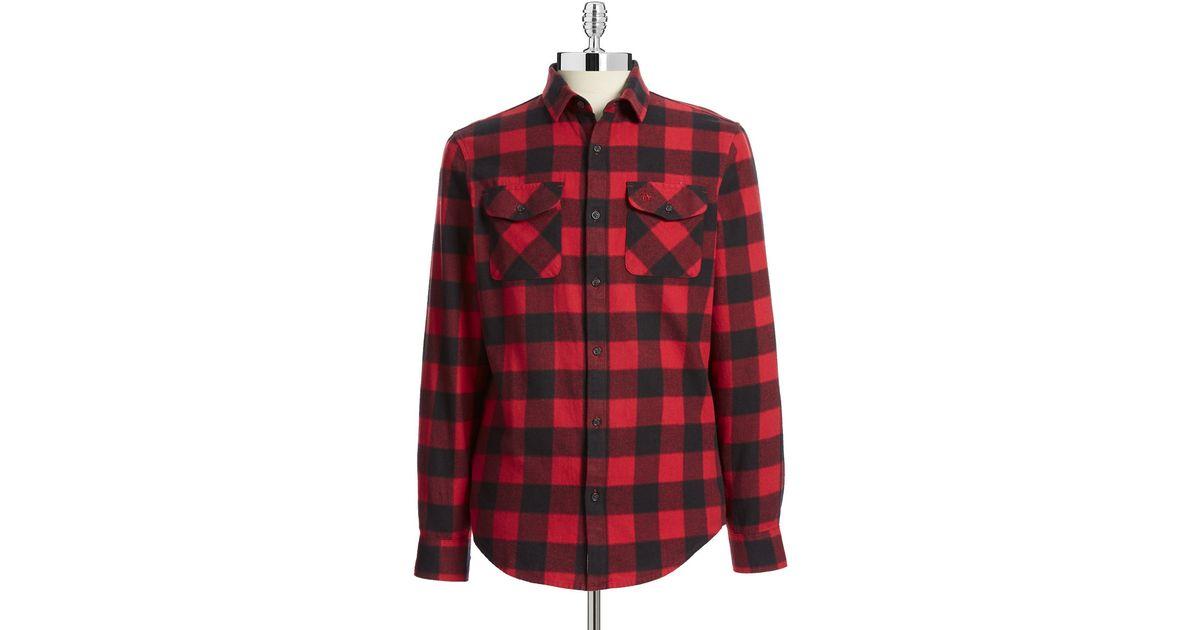 Lyst original penguin buffalo check flannel shirt in red for Buffalo check flannel shirt jacket