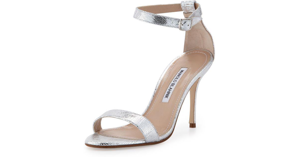 Lyst - Manolo blahnik Chaos Metallic Anklewrap Sandal Silver in ...