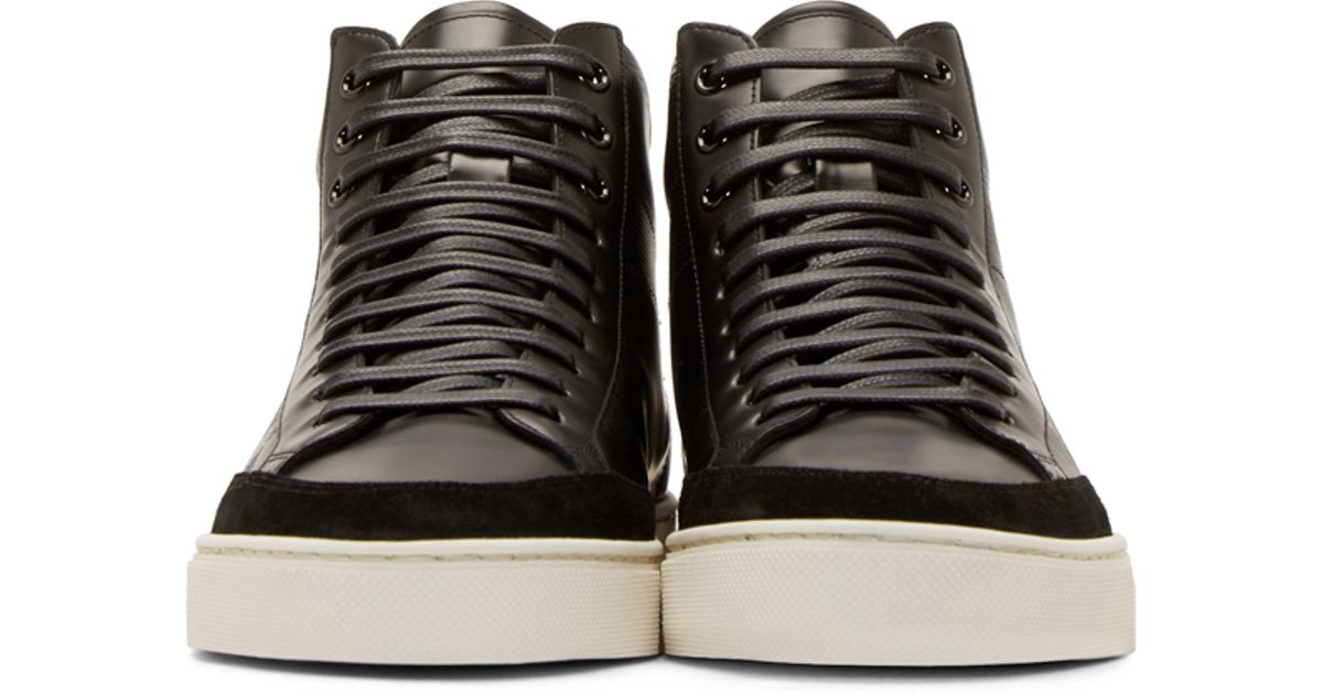 21a2e63f4c612a Lyst - Burberry Black Embossed Check Painton Sneakers in Black for Men
