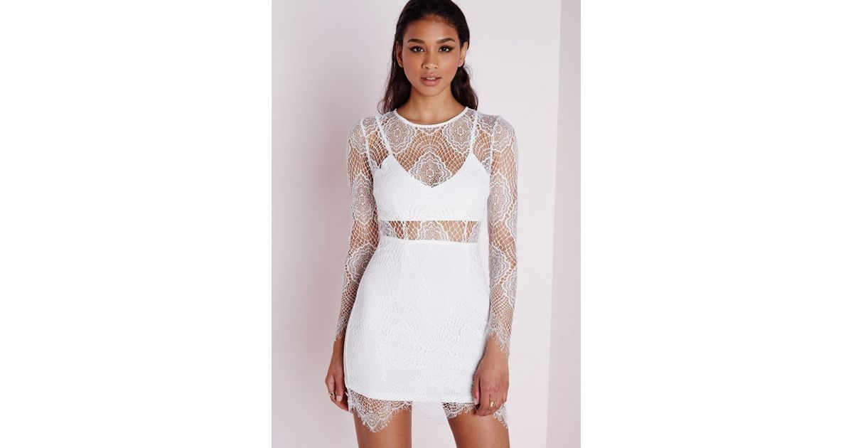 Missguided Lace Long Sleeve Bodycon Dress White in White - Lyst