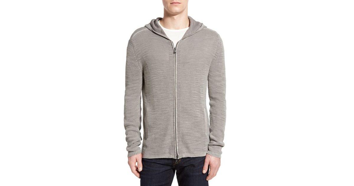 Zippered Hoodie Knitting Pattern : John varvatos Zip Slub Knit Hoodie in Gray for Men (SMOKE ...