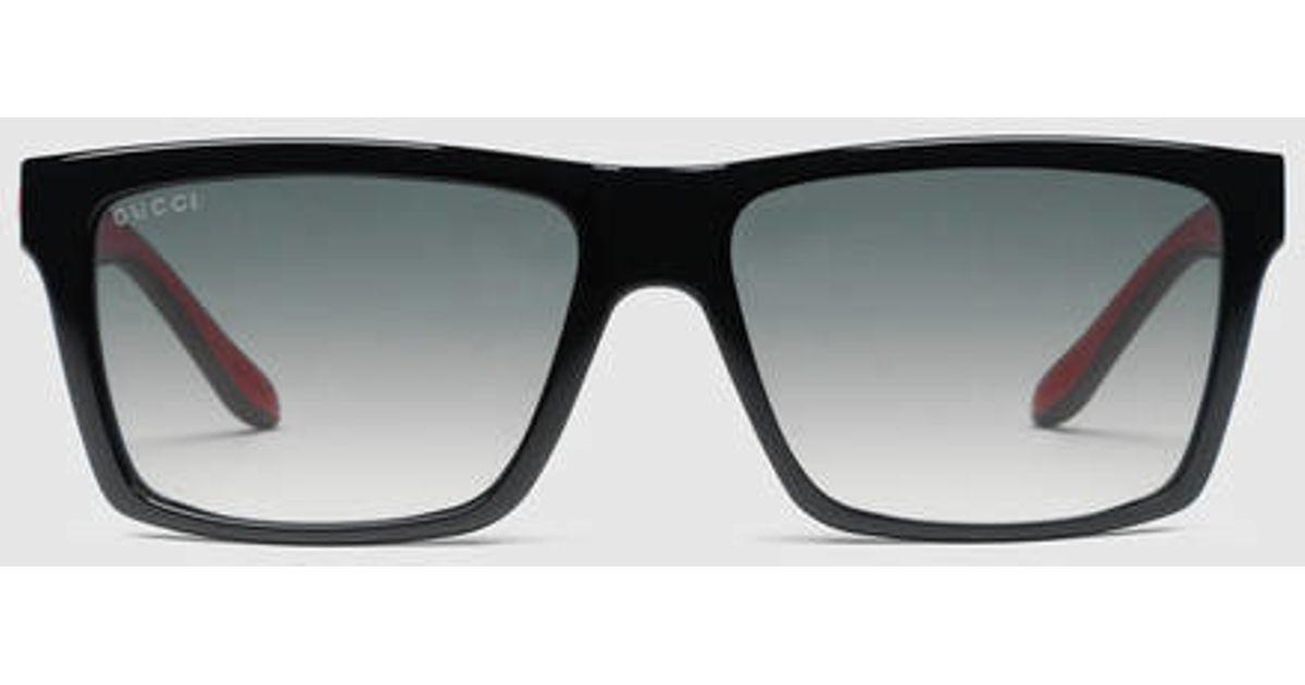 Gucci Rectangle Frame Sunglasses in Black for Men Lyst