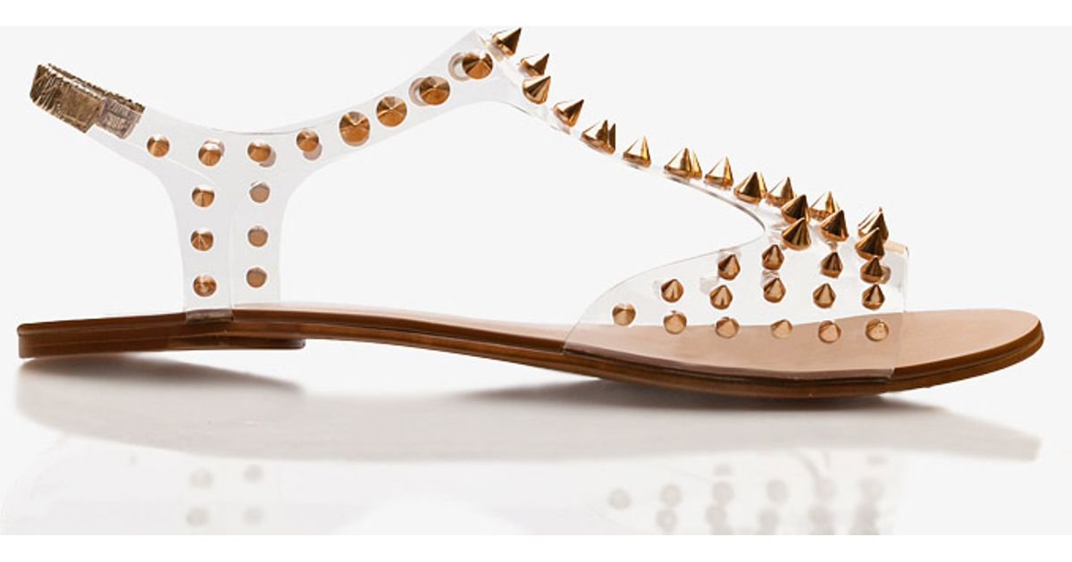 b8e62134c312 Lyst - Forever 21 Spiked Clear Sandals in Metallic