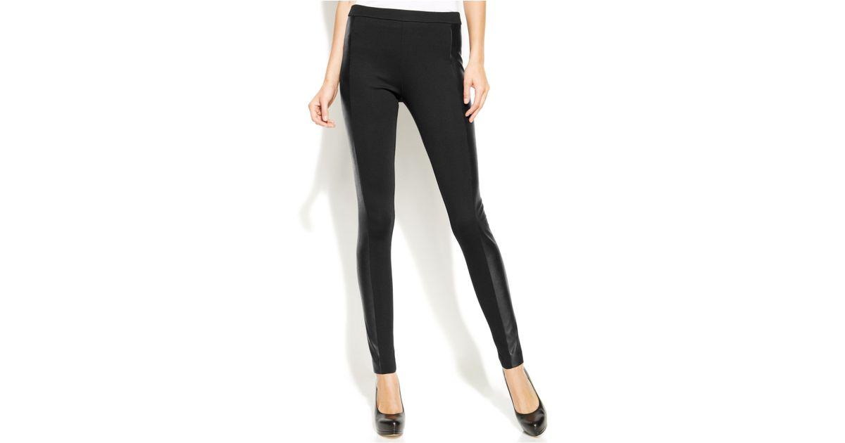 5b1bcb4149af20 Michael Kors Michael Petite Skinny Faux-Leather-Panel Pants in Black - Lyst