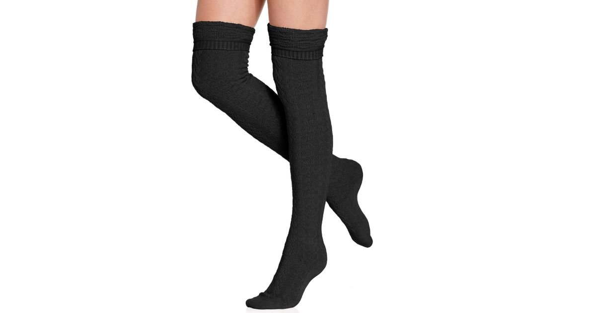 8be9734c9 Betsey Johnson Cozy Cable Over The Knee Socks in Black - Lyst