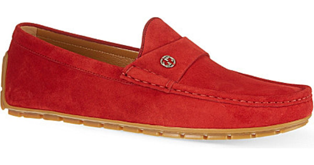 e4a82cff5c5a0 Gucci Peck Logo Suede Penny Loafers in Red for Men - Lyst
