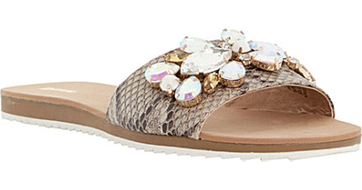 2dc1aa53287a Dune Kreme Jewelled Mule Sandals
